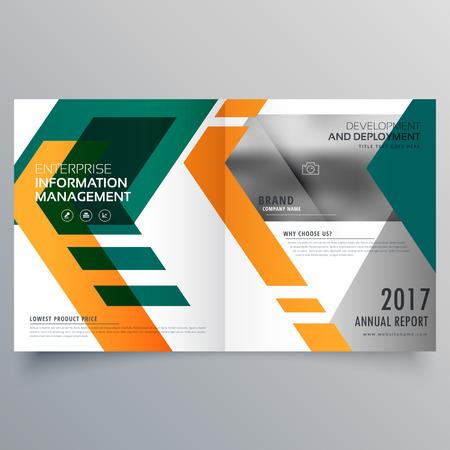 creative geometric bi fold brochure design template