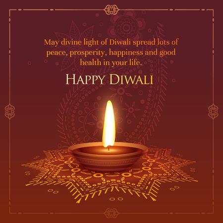 happt diwali wished greeting card design with burning diya