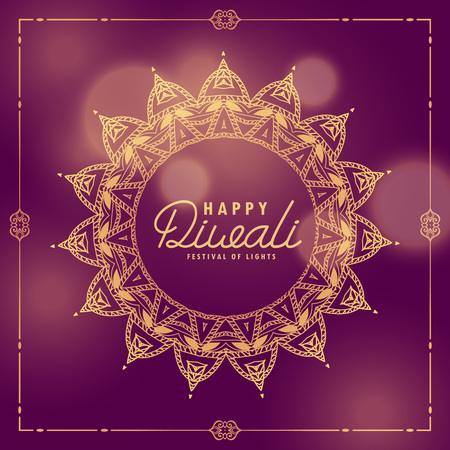 happy diwali indian festival ethnic greeting with mandala decoration