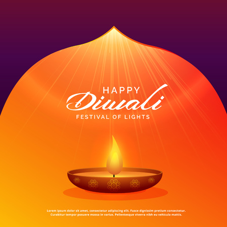 diwali festival background with diya and glowing rays