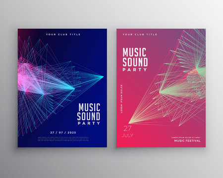 Abstract music template design with abstract lines mesh