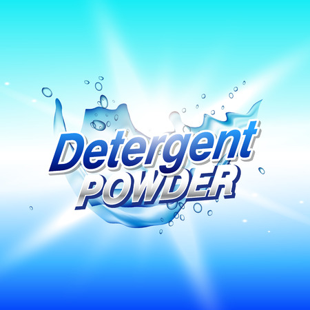 Detergent powder cleaning product packaging concept design template