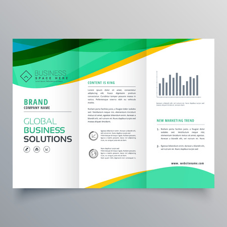 wavy green trifold business brochure vector design Illustration
