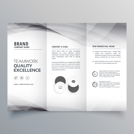 elegant gray trifold business brochure design Illustration