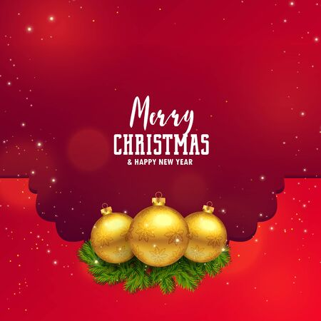 awesome christmas festival design with golden balls and leaves Illustration