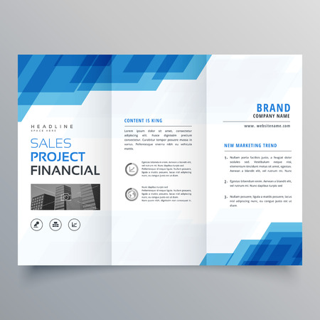 blue geometric trifold business brochure design template