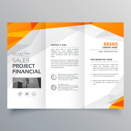 abstract orange trifold brochure design business template Illustration