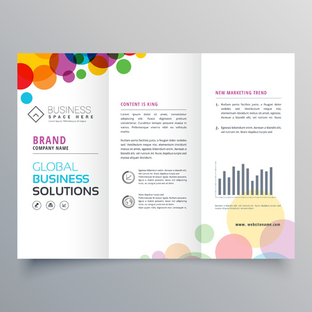 colorful circle abstract trifold brochure design Illustration