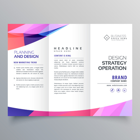 trifold business brochure design template with abstract wave