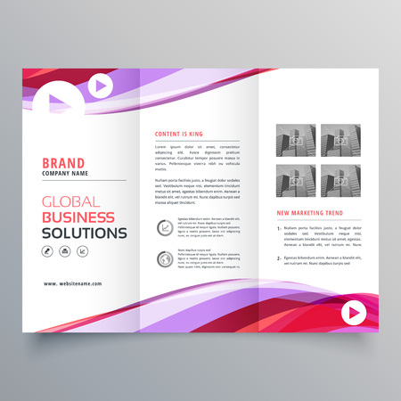 business trifold brochure design with colorful wave shape Illustration