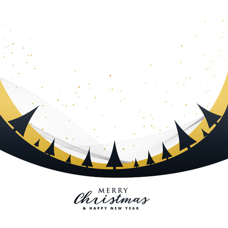 stylish merry christmas poster design with trees