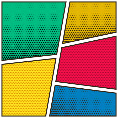 five empty comic book page colorful template background