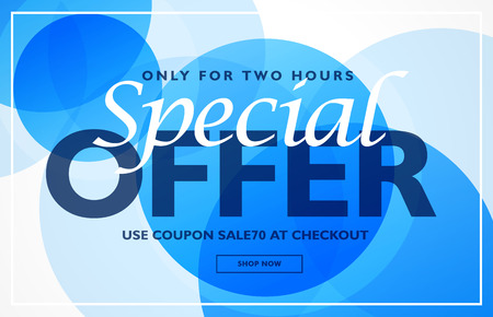 Special offer banner design template with blue circles background Illustration