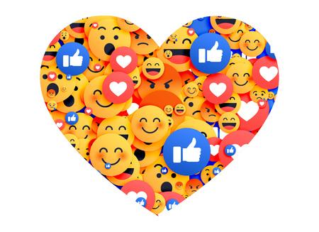 Coeur fait avec des icônes emoji de médias sociaux Banque d'images - 90870088