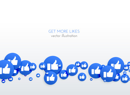 social media network blue likes thumb up icons background Stock Illustratie