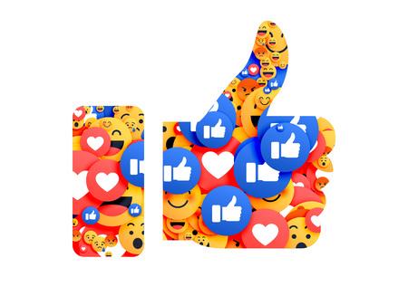 thumb up symbol made with emoji  Illustration