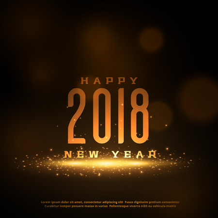 Shiny 2018 Happy New Year greeting card design with sparkles.