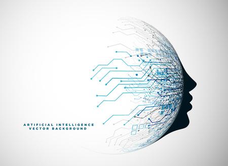 인공 지능 배경을위한 미래 지향적 인 디지털 얼굴