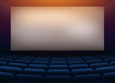 movie cinema hall theater with projection wall Çizim