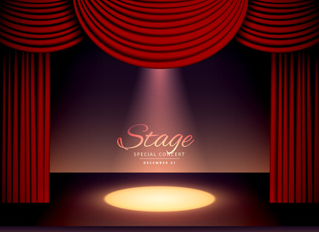 theater scene with red curtains and falling spot light
