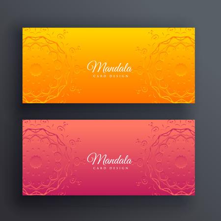 bright decorative mandala banners vector