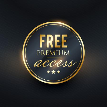 free premium access golden label design Stock Vector - 93801299