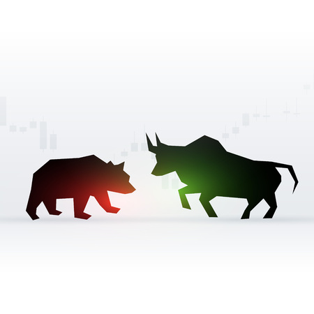 Concept design of bear and bull in front of each other showing loss and profit for stock market.