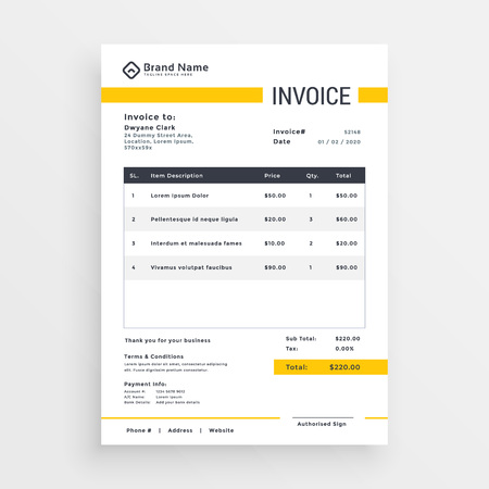minimal yellow invoice template vector design Ilustração