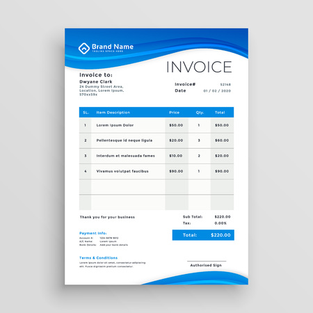 blue vector invoice template design Çizim