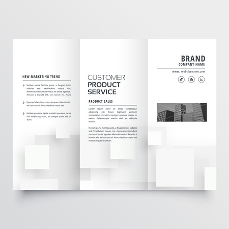 clean minimal white trifold brochure design template