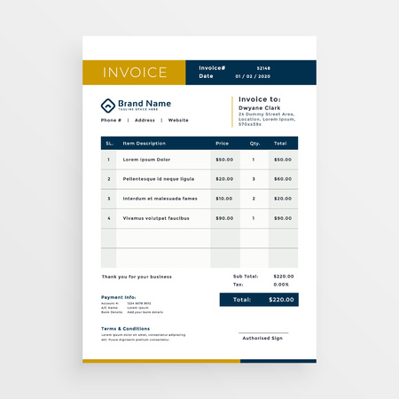 vector clean invoice template design