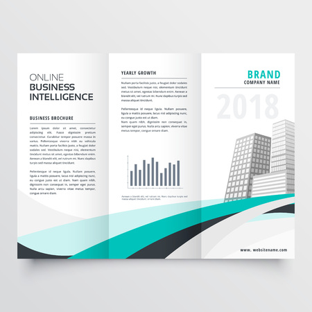 blue wavy corporate business trifold brochure design vector template