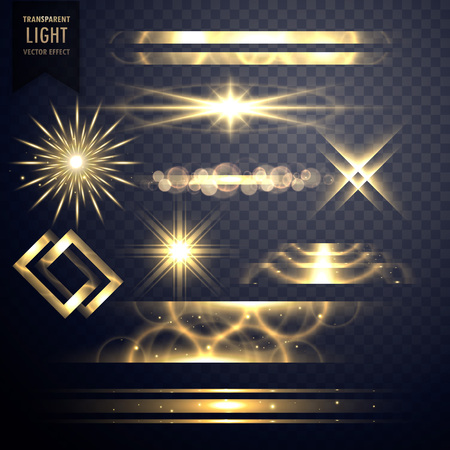 set of light sparkles effect glitters and lens flares Illusztráció