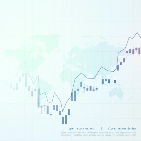 stock market business candle stick graph display background 向量圖像