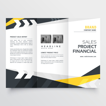 tri-fold brochure design template in modern geometric style Illusztráció