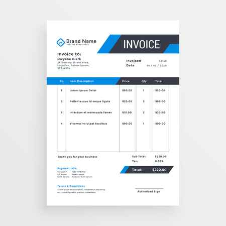 elegant invoice template design for your business in blue color