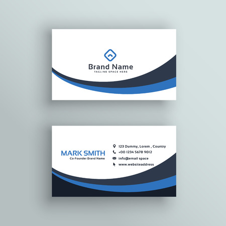 abstract blue wave business card design