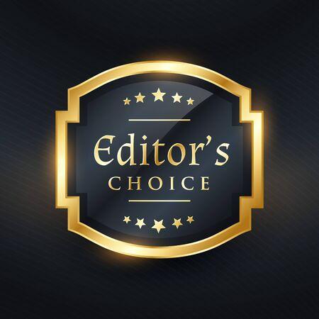 Editor's choice golden label design Vectores