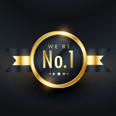 No. 1 leadership business golden label design Vettoriali