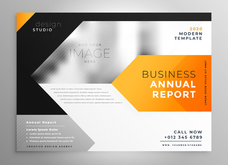 Business leaflet presentation template design in orange geometric shape
