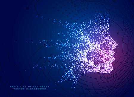 Fondo de concepto de tecnología de cara de partículas digitales para inteligencia artificial y aprendizaje automático Ilustración de vector