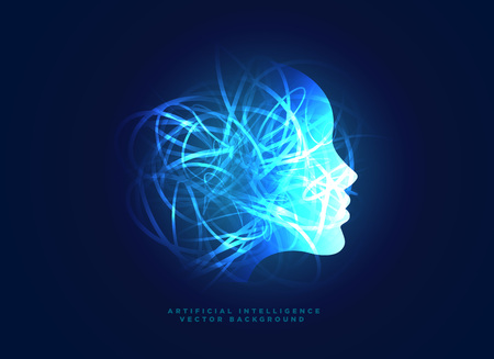 machine learning and artificial intelligence concept background with digital face