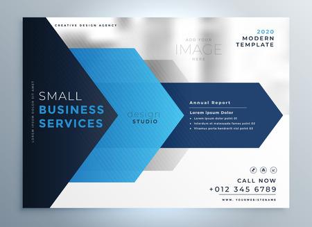 business presentation template design in blue geometric shape style Illustration
