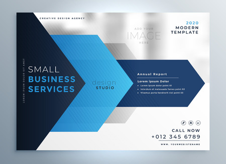 business presentation template design in blue geometric shape style Vectores