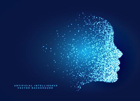 人工知能と機械学習のための粒子デジタルフェイスコンセプトデザイン