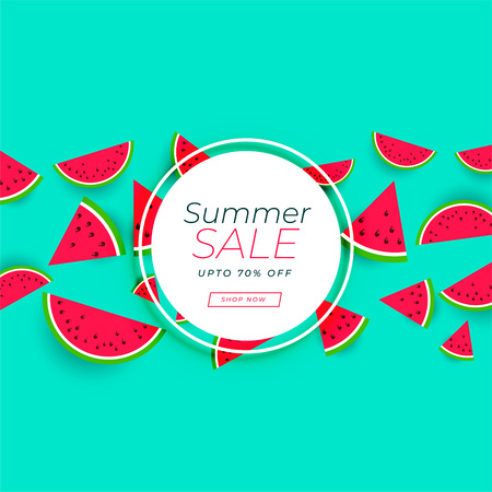 summer sale banner with watermelon background
