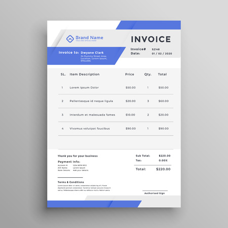 business invoice template vector design Illustration