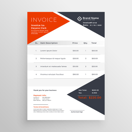 invoice template design for your company business Vettoriali