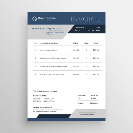 blue vector business invoice template design