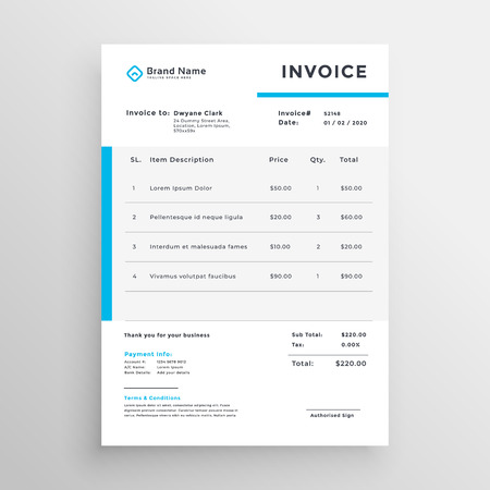 Simple invoice vector template design